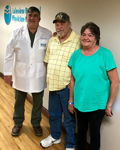 Dr. Breaux, Larry (patient) and his wife April thanking Dr. Breaux for saving his life.